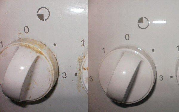 Очистка ручек плиты от загрязнений