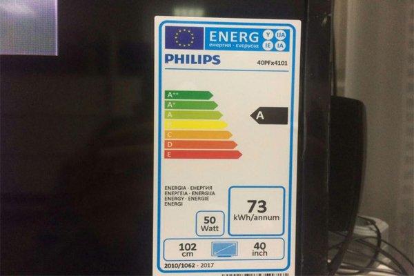Этикетка с классами энергопотребления